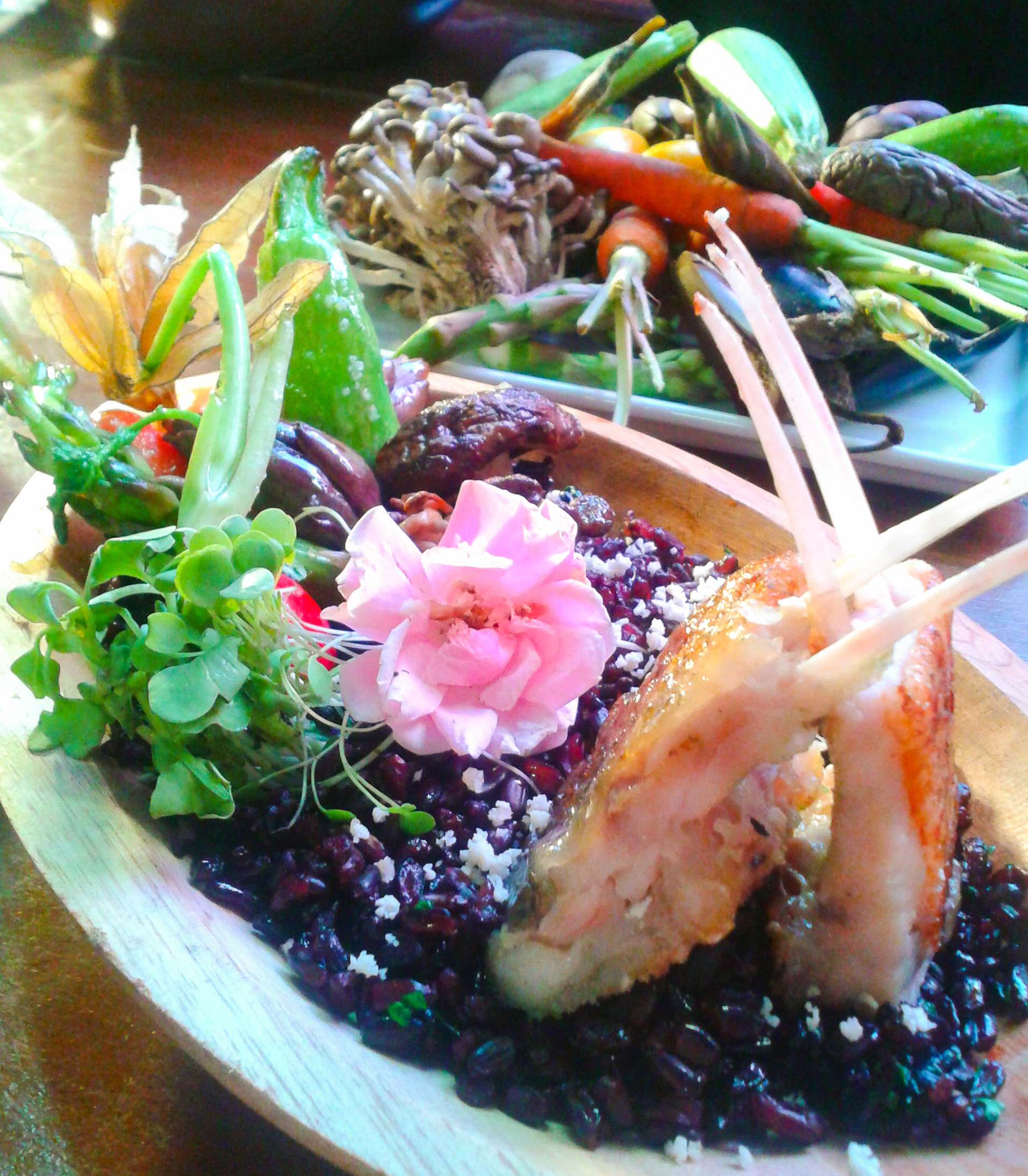 Costela de tambaqui com horta orgânica e arroz negro, chef Leonardo Roncon.