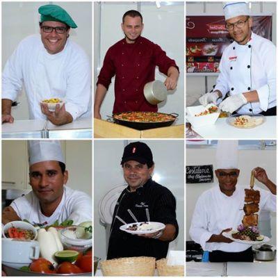 Chef Tiago Falcão | Chef San Casales - cozinha espanhola | Chef Marcelo Ferreira | Chef Gerson Alves | Chef Zezinho Souza | Chef Clodomiro Tavares. Foto: Divulgação.