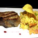 Beef de chorizo com arroz sertanejo.