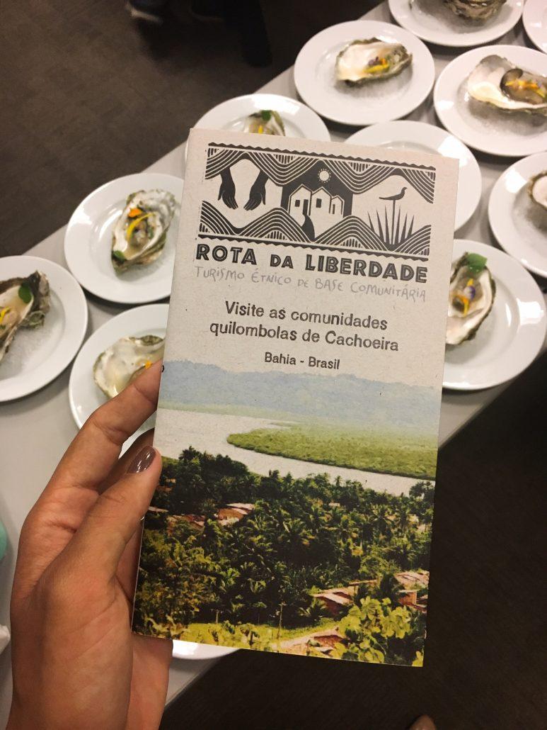 Folder da Rota da Liberdade, turismo étnico para visitar comunidades quilombolas. Foto: Repórter Gourmet.