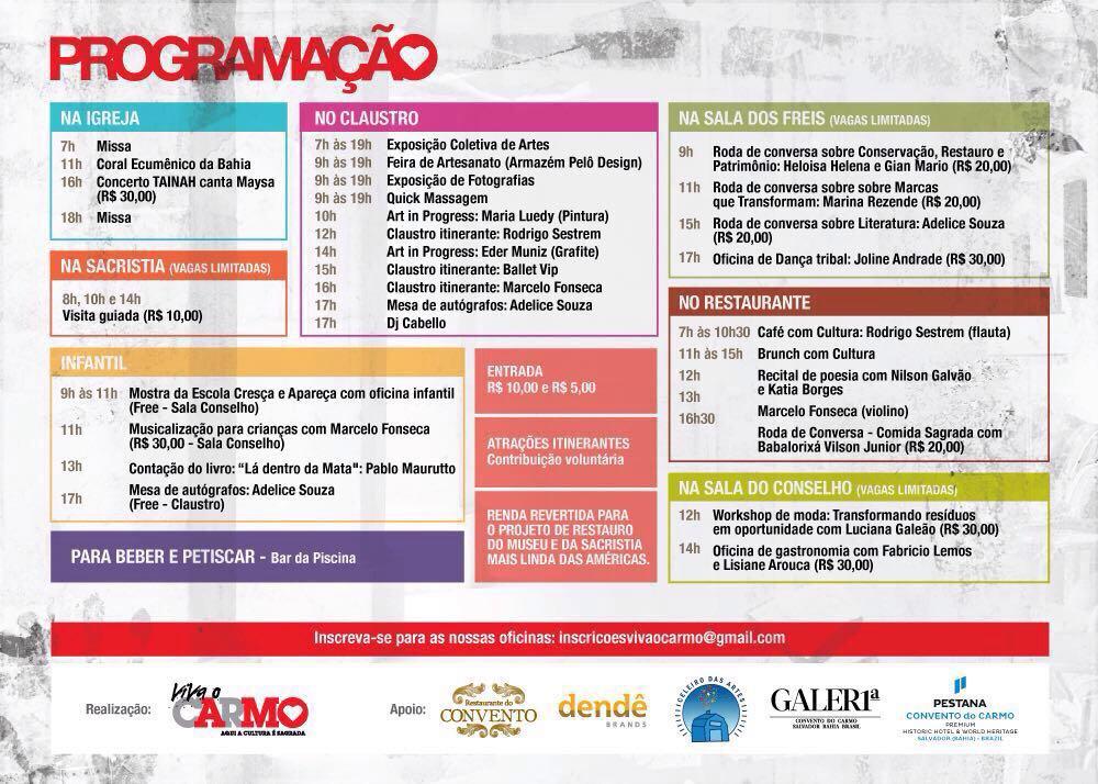 Programação evento Domingo Cultural no Hotel Conventual.