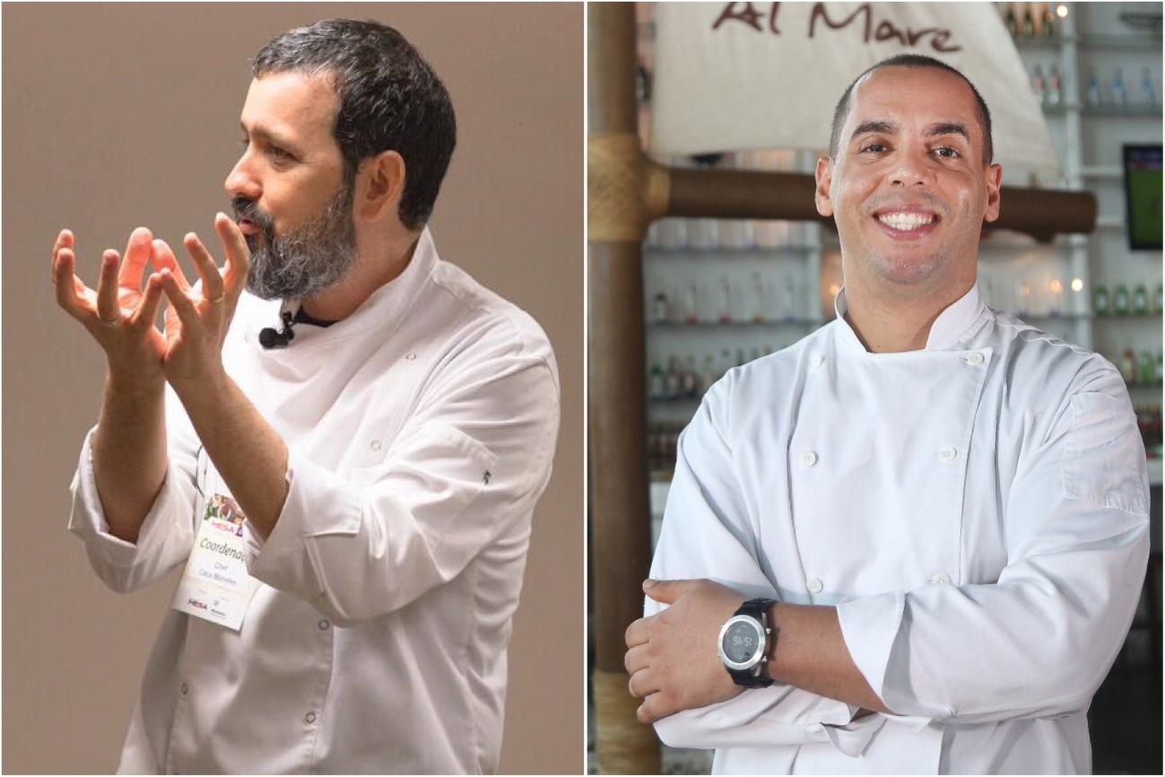 Chefs Caco Marinho e Ricardo Brito vão comandar a primeira edição do curso Na Cozinha com o Repórter Gourmet. Foto: Divulgação.